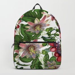 Vintage & Shabby Chic- Retro Passiflora Garden Flower Pattern Backpack
