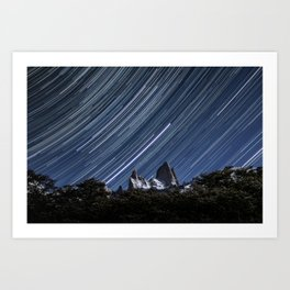 Fitz Roy & Spinning Stars Art Print