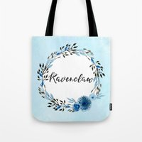 ravenclaw Tote Bags featuring HP Ravenclaw in Watercolor  by Snazzy Sisters