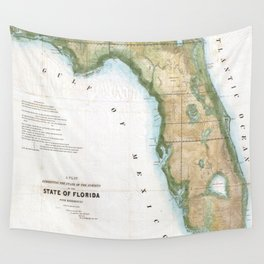 Vintage Map of Florida (1848) Wall Tapestry