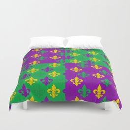 Mardi Gras Fleur-de-Lis Pattern Duvet Cover