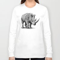 bioworkz Long Sleeve T-shirts featuring Rhinoceros by BIOWORKZ