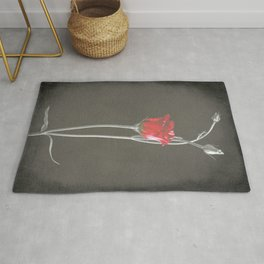 Red Lisianthus on Black  Rug