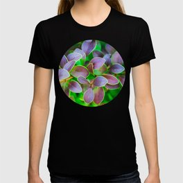 Vibrant green and purple leaves T-shirt