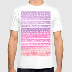 Geometric hand drawn abstract white aztec modern summer pink purple coral ombre watercolor pattern MEDIUM White Mens Fitted Tee