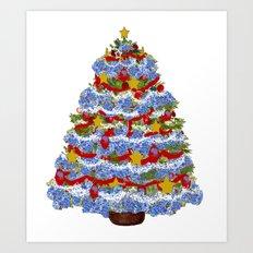 Cape Cod Hydrangea Christmas tree Art Print