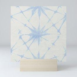Shibori Starburst Sky Blue on Lunar Gray Mini Art Print
