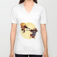 kili V-neck T-shirts featuring Fiddling Fili and Kili by quelm