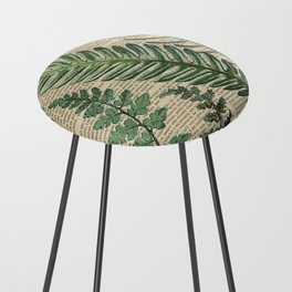 Book Art Page Botanical Leaves Counter Stool