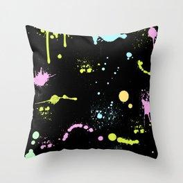 Neon paint splatter Throw Pillow