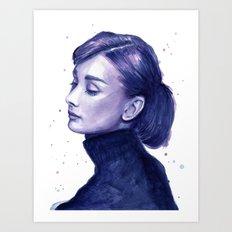Audrey Hepburn Watercolor Portrait Art Print