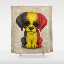 Cute Puppy Dog with flag of Belgium Shower Curtain