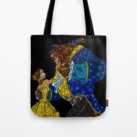 beauty and the beast Tote Bags featuring Beauty and the Beast by JackEmmett