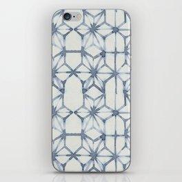 Simply Shibori Stars in Indigo Blue on Lunar Gray iPhone Skin