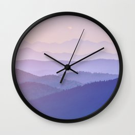 Purple Sunset Rolling Foggy Hills Landscape Photograph Wall Clock