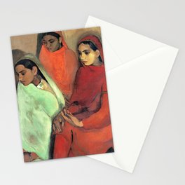 12,000pixel-500dpi - Amrita Sher-Gil - Group of Three Girls - Digital Remastered Edition Stationery Cards