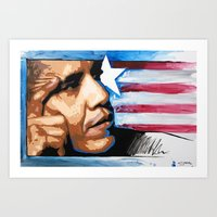 obama Art Prints featuring Obama by CjosephART