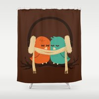 birds Shower Curtains featuring Baby It's Cold Outside by Picomodi