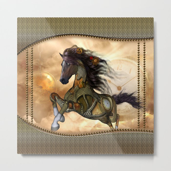 Steampunk, awesome steampunk horse Metal Print