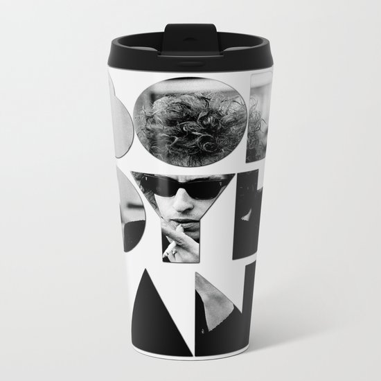 Bob Dylan Font Sunglasses Metal Travel Mug