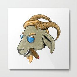Hip Goat Smoking Cigar Drawing Metal Print