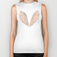 rose Biker Tanks featuring Cicada Wings in Rose Gold by Cat Coquillette