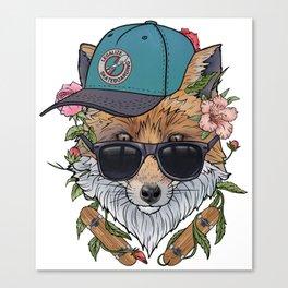 Skateboarding fox Canvas Print