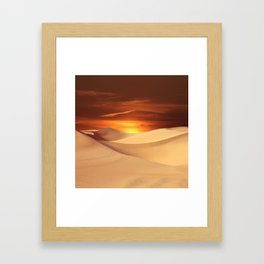 The Sunset On Desert Framed Art Print