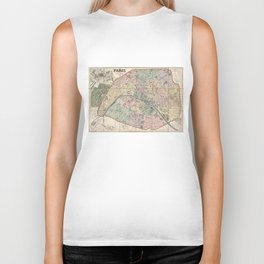 Vinage Map of Paris France (1878) Biker Tank