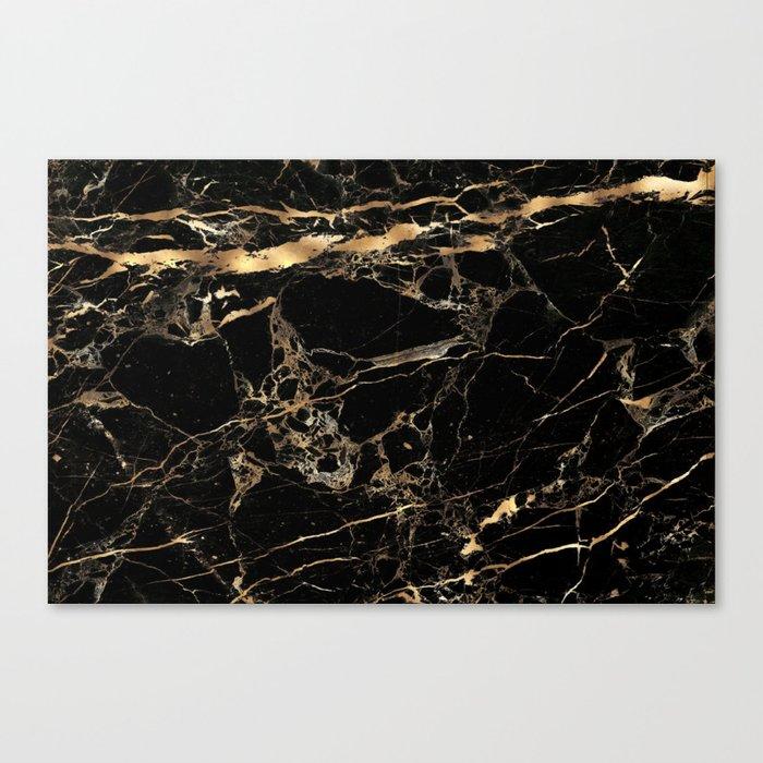 Marble, Black + Gold Veins Leinwanddruck