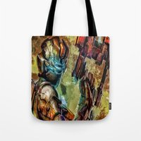 dead space Tote Bags featuring Dead Space  by Joe Misrasi