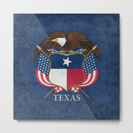 Texas flag and eagle crest - original vintage concept Metal Print