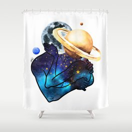 Planets love. Shower Curtain