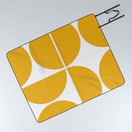 Mid Century Modern Yellow Square Picnic Blanket