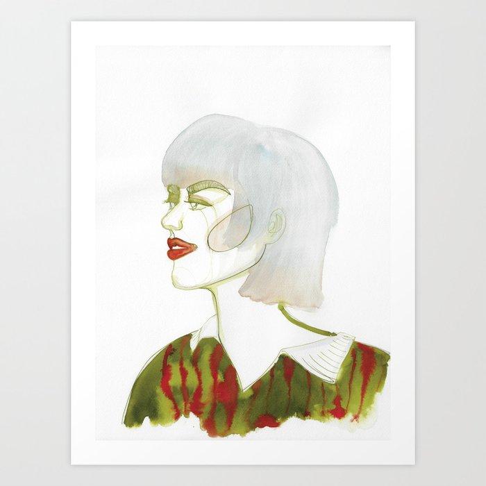 Mel with tip-dye hair Art Print