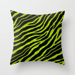 Ripped SpaceTime Stripes - Lime Yellow Throw Pillow