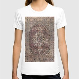 Antique Persia Doroksh Old Century Authentic Dusty Dull Blue Gray Green Vintage Rug Pattern T-shirt