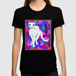 Pretty White Kitty in the Window - Stained Window T-shirt