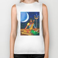 shiva Biker Tanks featuring Lord Shiva by Purple Soul