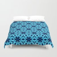 knitting Duvet Covers featuring blue Knitting by clemm