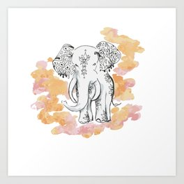 Elephant Travels- Frolics to family Art Print
