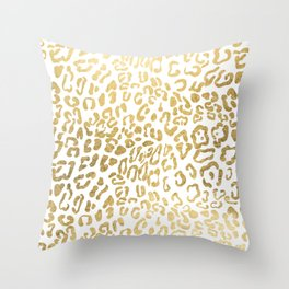 Modern Hipster Girly Gold Leopard Animal Print Throw Pillow