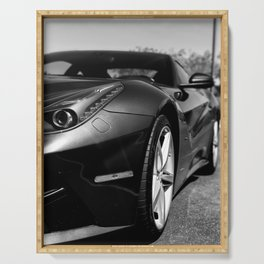 Super Car // Front Wheel Base Low Rims Dark Charcol Gray Black and White Serving Tray
