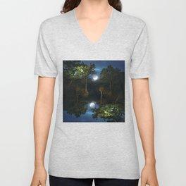 Moonset in coniferous forest Unisex V-Neck