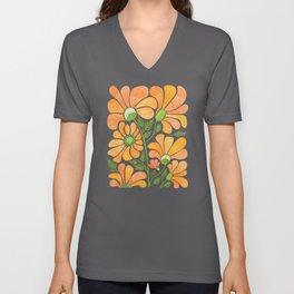 Happy California Poppies / hand drawn flowers Unisex V-Neck