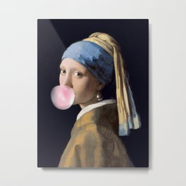 Girl with a bubble gum Metal Print