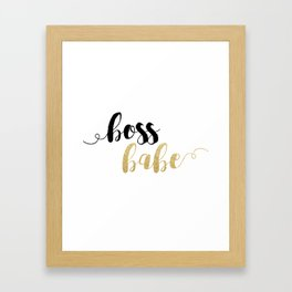 Boss Babe | Gold Glitter Framed Art Print