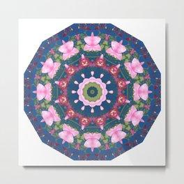 Flower-Mandala, blue pink, Spring blossoms Metal Print