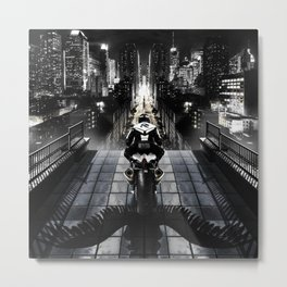 Poster with a biker on a motorcycle in the form of an angel looking into the distance of the urban v Metal Print
