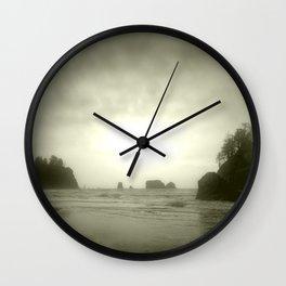 Foggy Sea Stacks Wall Clock